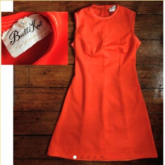 Vintage Dresses & Skirts - Vintage 60's Butte Knit hot orange poly dress 🧡